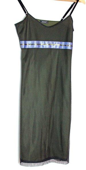 KOOKAI wunderschönes Lagenkleid mit Tüll, Oliv mit Lila, Gr. 1 / 34, auch 36