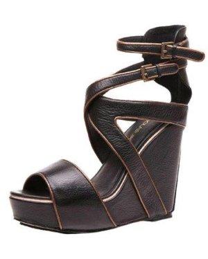 Sandalo a zeppa marrone scuro-nero