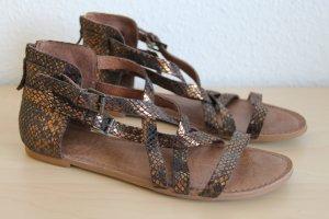 Sandales à lanière bronze-brun cuir