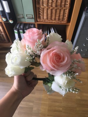 Kopfschmuck Blumen rosa/weiß