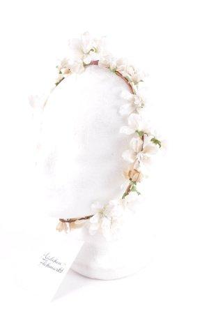 Kopfschmuck weiß-waldgrün florales Muster extravaganter Stil