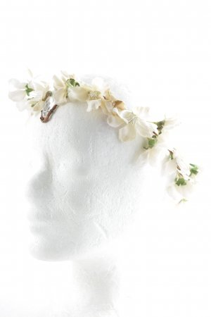Headdress white-forest green floral pattern extravagant style