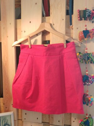 Zara Trafaluc Jupe ballon rouge framboise-magenta coton