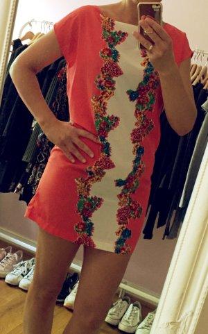 Korallefarbenes Mini Kleid mit Blumen von Mango Gr.S