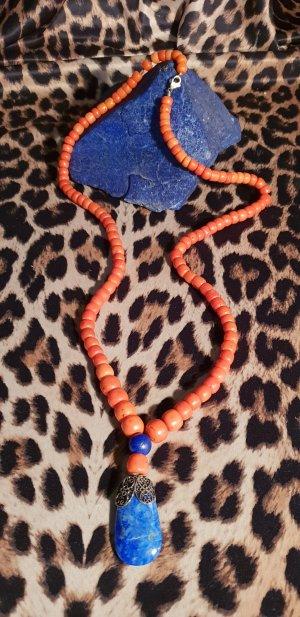 Collar de perlas naranja-azul