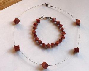 Korallen Set Kette + Armband rot TOP silber