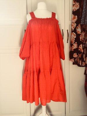 H&M Abito senza spalle rosso-rosso chiaro