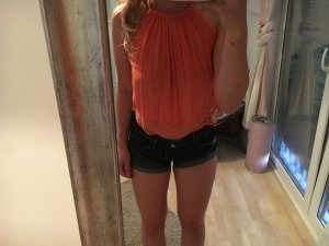 H&M Lace Top salmon-bright red