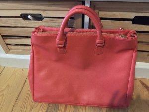 Korallfarbene Handtasche mit 3 Fächern