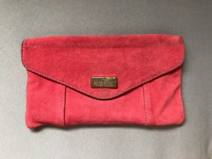 Korallrote Clutch aus echtem Wildleder Used Look