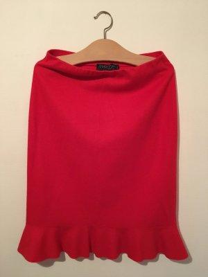 Marc Cain Gonna a balze rosso-rosso mattone Lana vergine