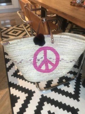 Korb Basttasche Strandtasche Shopper Ibiza Peace Boho