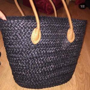 Bolso tipo cesta negro-naranja oscuro