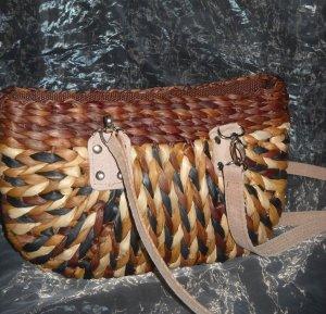 Korbgeflecht Tasche Shopper Bag Schulter Umhängetasche h m braun camel grau Boho