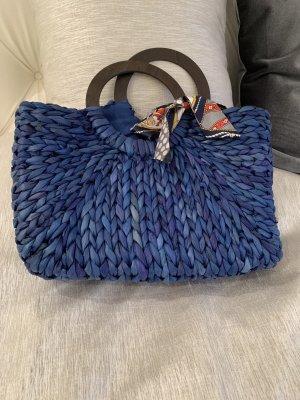 Korbtasche blau mit Masche