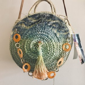 Korbtasche rund Boho Roundbag Crossbody Musthave Handmade Ibiza Hippiechic Organic Fairtrade