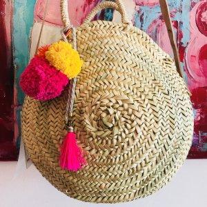 Korbtasche rund Crossbody Pompons Tassen Perlenkette Ibiza Bohostyle Blogger Organic Fair Trade