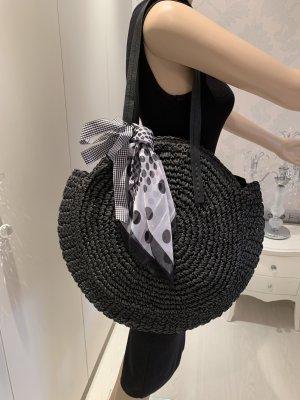 Korbtasche schwarz Cover&Co neu mit Edikettmit Ziertuch
