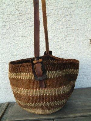 Korbtasche Sisal Ethno Natur True Vintage Basttasche Hippie Öko Tasche Unikat Beutel Bag Leder