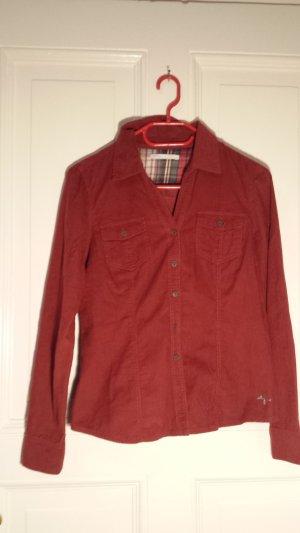 Only Camisa de vestir rojo oscuro-carmín Algodón