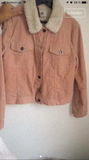 Pull & Bear Chaqueta de piel color rosa dorado-blanco