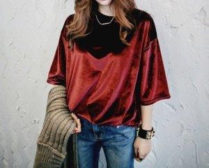 Koreanisches samt shirt rot