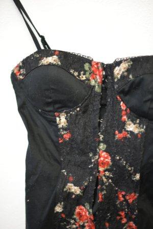 Korsett in schwarz mit Blumenprint
