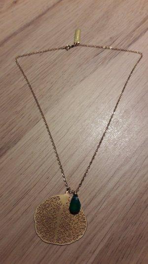 Koshikira feine Halskette Blatt mit Schmuckstein vergoldet