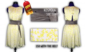 Kosmika dress, size S + matching suede shoes 37, size and suede belt