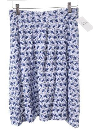 Kosmika Faltenrock blau-weiß florales Muster Casual-Look