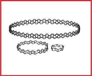 Kostenloser Versand Halskette  3er Set Halsband Tattoo Schmuck Armband Tattookette Henna