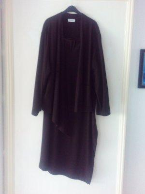 Kostüm asymetrisch, Rock lang mit Schlitz, Boho Style, schwarzbraun