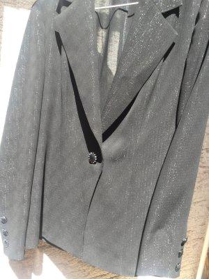 Costume business noir-argenté soie