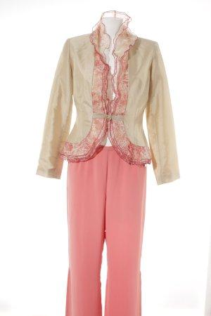 Ladies' Suit cream-salmon elegant