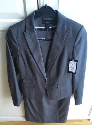 HM Traje de pantalón gris oscuro-gris tejido mezclado