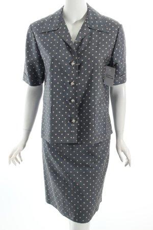 Kostüm graublau-creme Punktemuster 60ies-Stil