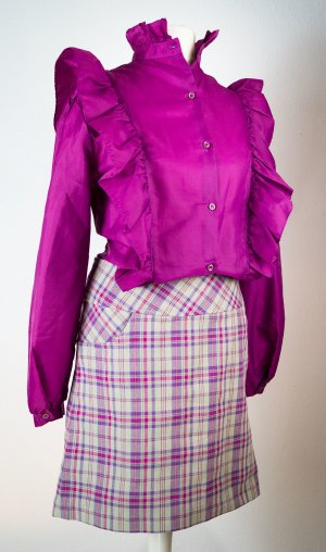 Kostüm komplett, Rock & Bluse in magenta pink