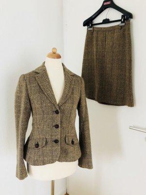 Kostüm Rock Blazer braun Brit Chic warm mit Wolle Gr 36 S H&M