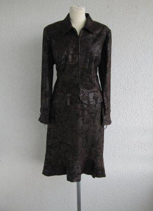 Ladies' Suit dark brown-brown polyester