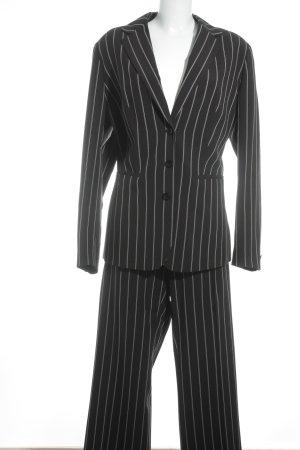 Tailleur noir-blanc motif rayé style d'affaires