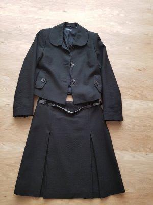 Kostum 2-teilig, schwarz mit Lackgürtel#Business#elegant#