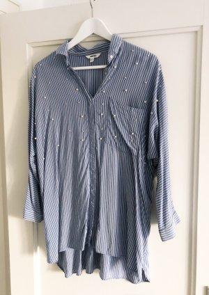 Koton Bluse Blau-Weiß gestreift mit Perlen, Gr. 36