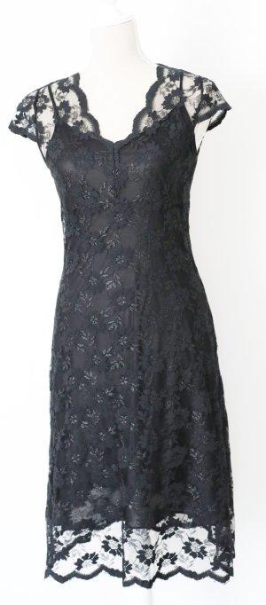 Koton * Spitzenkleid * 38 m Kleid mit Unterkleid Spitze Abendkleid Cocktailkleid schwarz geblümt neuwertig! 1x getragen