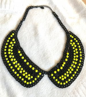 Zara Collier incrusté de pierres noir-jaune primevère métal