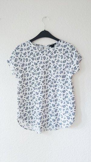 Krepp Bluse Muster weiß schwarz 34 XS