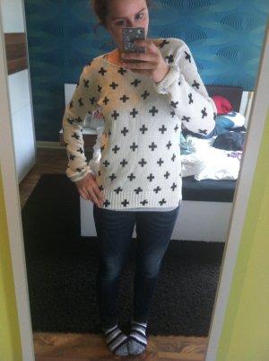 H&M Long Sweater white-black