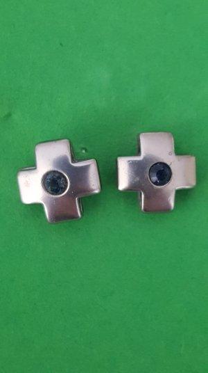 Kreuzohrringe mit blauem Stein