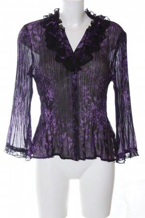 KRISS Ruffled Blouse lilac-black allover print casual look