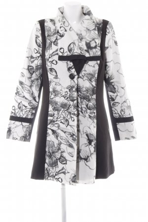 KRISS Übergangsmantel wollweiß-schwarz florales Muster 60ies-Stil