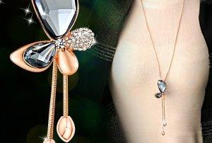 Kristall- lange Halskette